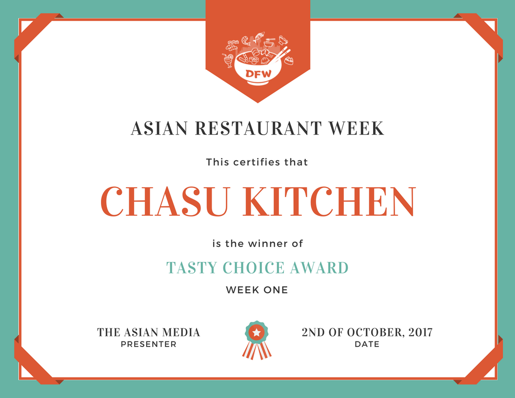 DFWARW First Week Winner Chasu Kitchen